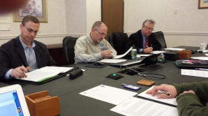 Members of the Joint Military Affairs Committee work on issues at the its inaugural meeting.